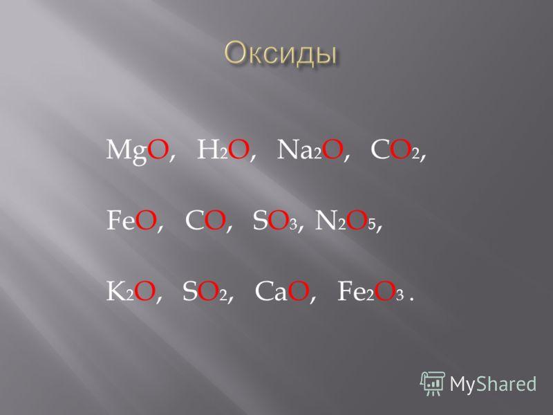 MgO, H 2 O, Na 2 O, CO 2, FeO, CO, SO 3, N 2 O 5, K 2 O, SO 2, CaO, Fe 2 O 3.