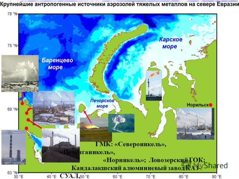 ГМК: «Североникель», «Печенганикель», «Норникель»; Ловозерский ГОК; Кандалакшский алюминиевый завод КАЗ- СУАЛ,