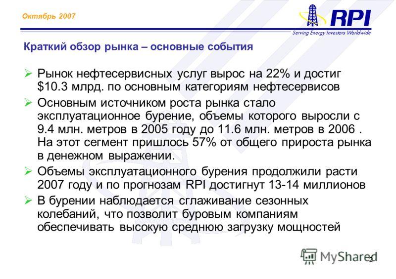 Октябрь 2007 2 Краткий обзор рынка – основные события Рынок нефтесервисных услуг вырос на 22% и достиг $10.3 млрд. по основным категориям нефтесервисов Основным источником роста рынка стало эксплуатационное бурение, объемы которого выросли с 9.4 млн.