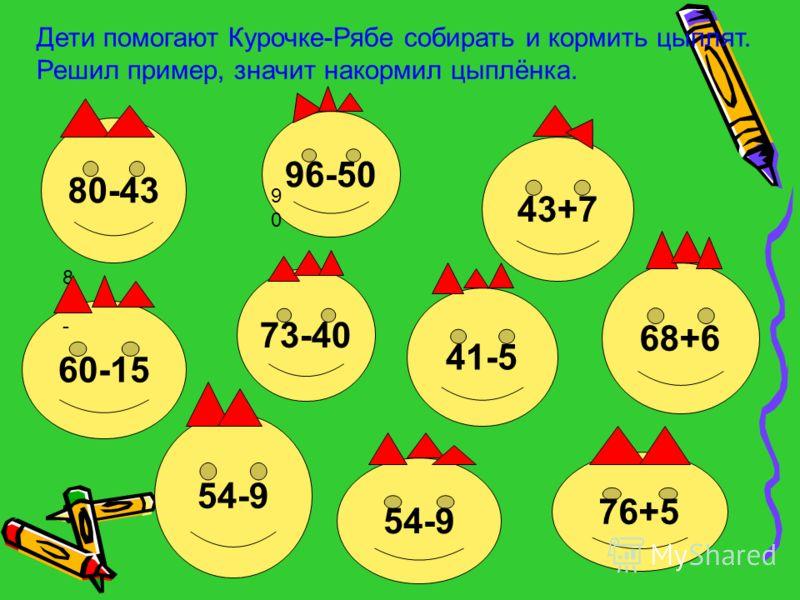 Дети помогают Курочке-Рябе собирать и кормить цыплят. Решил пример, значит накормил цыплёнка. 80-43 96-50 43+7 68+6 54-9 60-15 73-40 41-5 54-9 76+5 80-80- 9090
