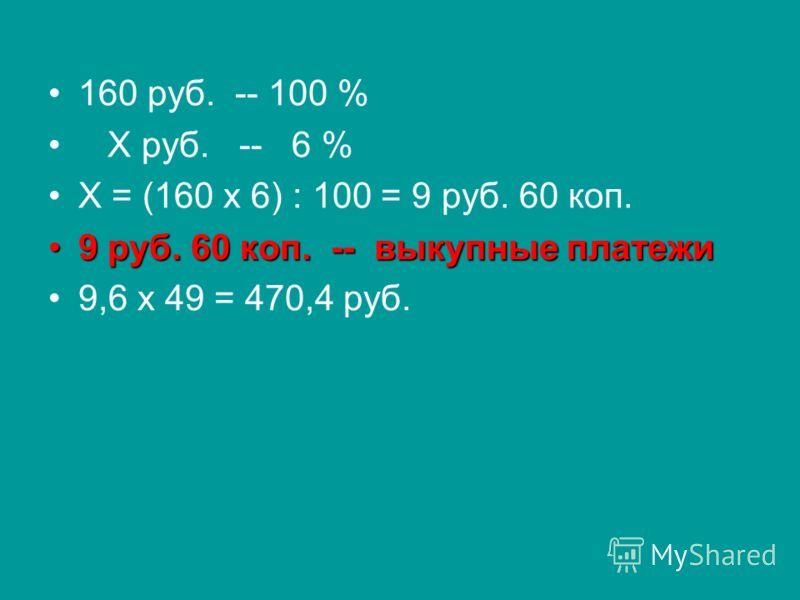 160 руб. -- 100 % Х руб. -- 6 % Х = (160 х 6) : 100 = 9 руб. 60 коп. 9 руб. 60 коп. -- выкупные платежи9 руб. 60 коп. -- выкупные платежи 9,6 х 49 = 470,4 руб.