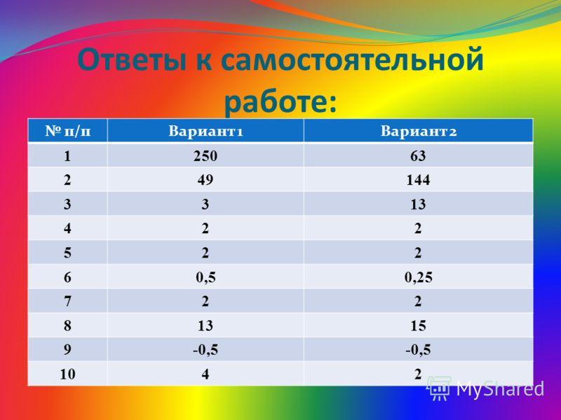 Ответы к самостоятельной работе: п/пВариант 1Вариант 2 125063 249144 3313 422 522 60,50,25 722 81315 9-0,5 1042