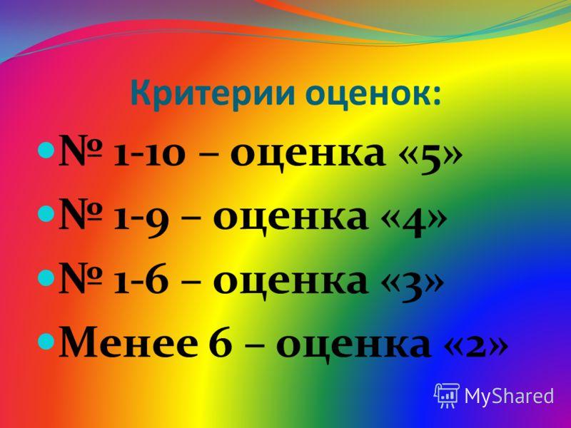 Критерии оценок: 1-10 – оценка «5» 1-9 – оценка «4» 1-6 – оценка «3» Менее 6 – оценка «2»