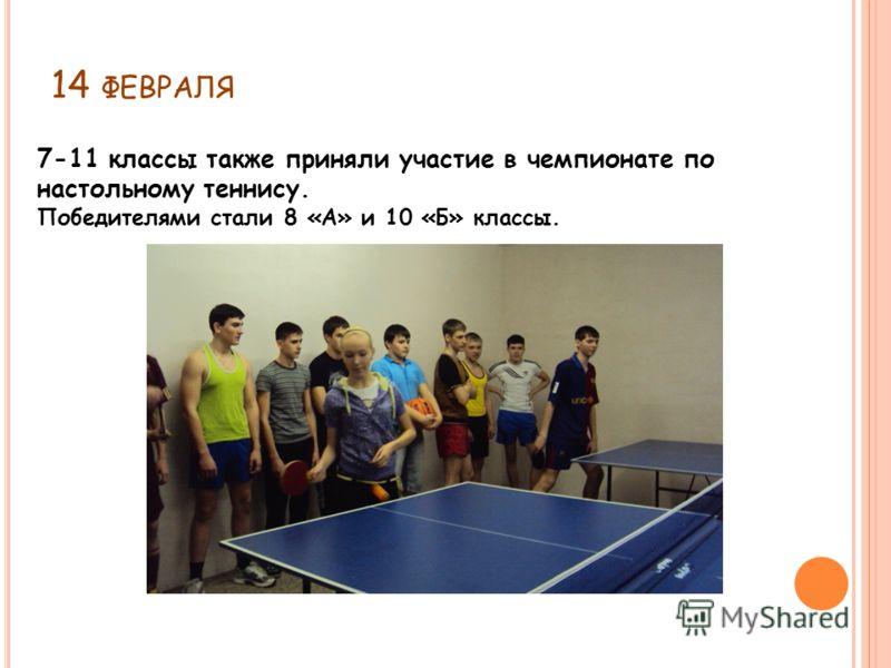 14 ФЕВРАЛЯ 7-11 классы также приняли участие в чемпионате по настольному теннису. Победителями стали 8 «А» и 10 «Б» классы.