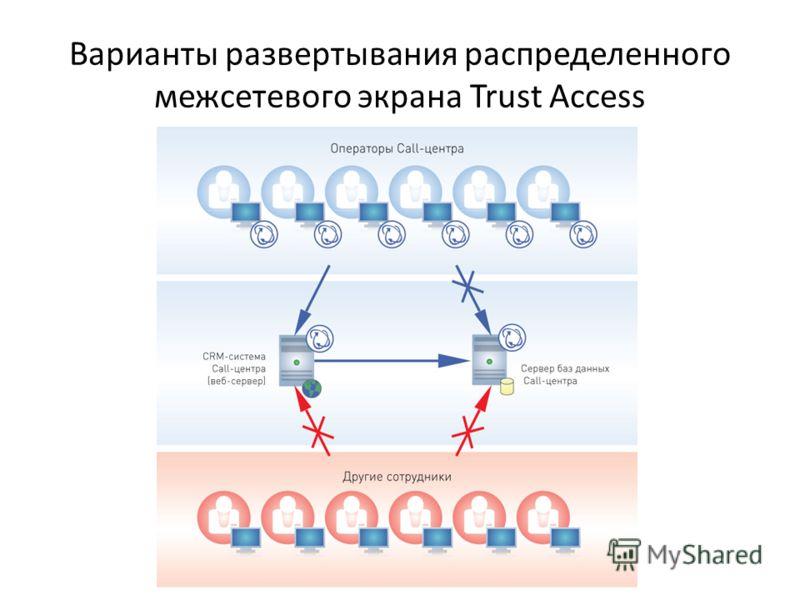Варианты развертывания распределенного межсетевого экрана Trust Access