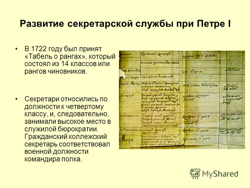 Развитие секретарской службы при Петре I В 1722 году был принят «Табель о рангах», который состоял из 14 классов или рангов чиновников. Секретари относились по должности к четвертому классу, и, следовательно, занимали высокое место в служилой бюрокра