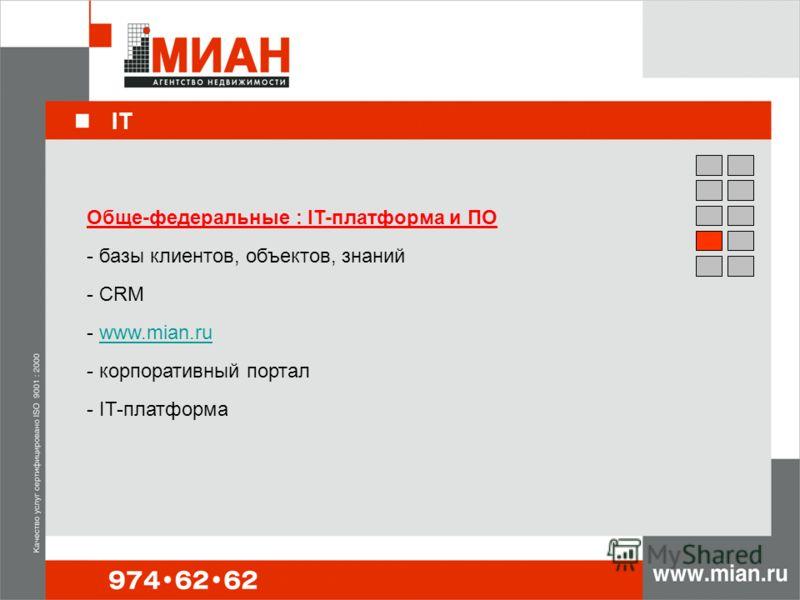 IT Обще-федеральные : IT-платформа и ПО - базы клиентов, объектов, знаний - CRM - www.mian.ruwww.mian.ru - корпоративный портал - IT-платформа