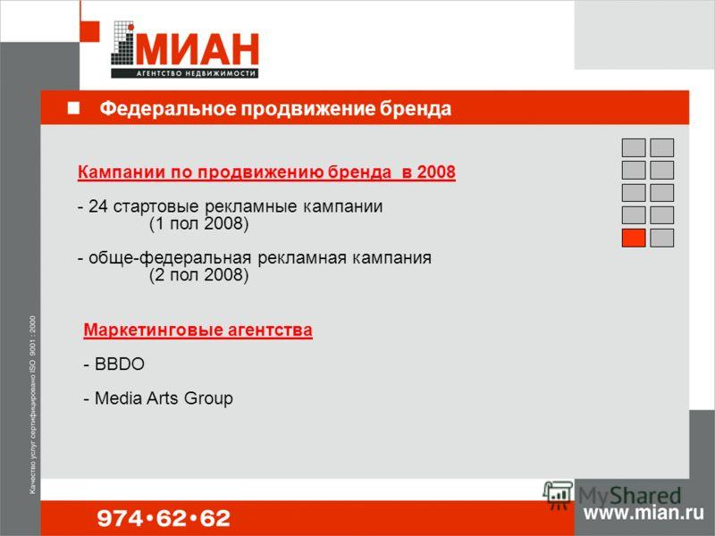 Федеральное продвижение бренда Кампании по продвижению бренда в 2008 - 24 стартовые рекламные кампании (1 пол 2008) - обще-федеральная рекламная кампания (2 пол 2008) Маркетинговые агентства - BBDO - Media Arts Group