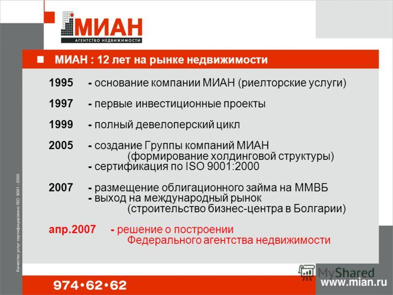 МИАН : 12 лет на рынке недвижимости 1995- основание компании МИАН (риелторские услуги) 1997- первые инвестиционные проекты 1999- полный девелоперский цикл 2005- создание Группы компаний МИАН (формирование холдинговой структуры) - сертификация по ISO