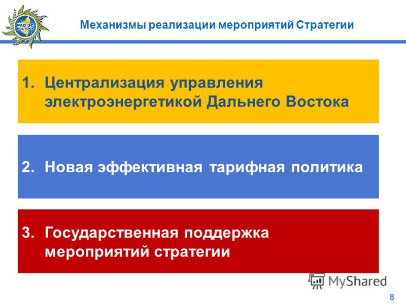 Механизмы реализации мероприятий Стратегии 1.Централизация управления электроэнергетикой Дальнего Востока 2.Новая эффективная тарифная политика 3.Государственная поддержка мероприятий стратегии 8