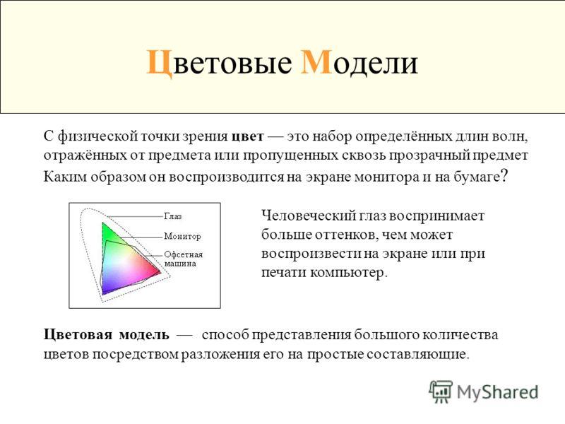 Цветовые Модели С физической точки зрения цвет это набор определённых длин волн, отражённых от предмета или пропущенных сквозь прозрачный предмет Каким образом он воспроизводится на экране монитора и на бумаге ? Человеческий глаз воспринимает больше