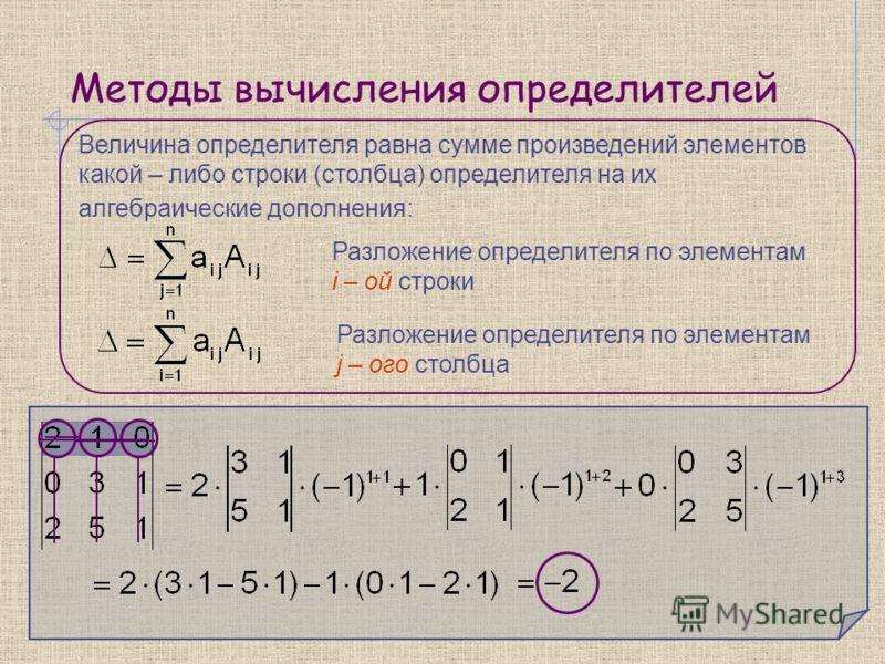 Методы вычисления определителей Величина определителя равна сумме произведений элементов какой – либо строки (столбца) определителя на их алгебраические дополнения: Разложение определителя по элементам i – ой строки Разложение определителя по элемент