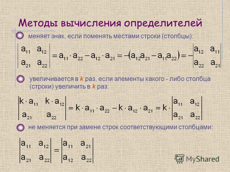 Методы вычисления определителей меняет знак, если поменять местами строки (столбцы): увеличивается в k раз, если элементы какого - либо столбца (строки) увеличить в k раз: не меняется при замене строк соответствующими столбцами: