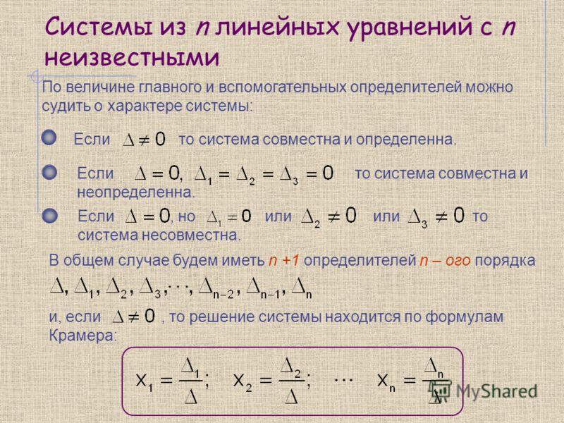Системы из n линейных уравнений с n неизвестными По величине главного и вспомогательных определителей можно судить о характере системы: Если то система совместна и определенна. Если то система совместна и неопределенна. Если, но или или то система не