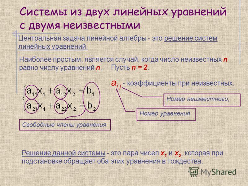 Системы из двух линейных уравнений с двумя неизвестными Центральная задача линейной алгебры - это решение систем линейных уравнений. Решение данной системы - это пара чисел х 1 и х 2, которая при подстановке обращает оба этих уравнения в тождества. С