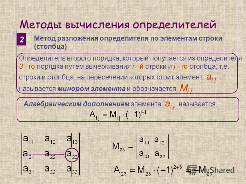 Методы вычисления определителей 2 Метод разложения определителя по элементам строки (столбца) Определитель второго порядка, который получается из определителя 3 - го порядка путем вычеркивания i - й строки и j - го столбца, т.е. строки и столбца, на