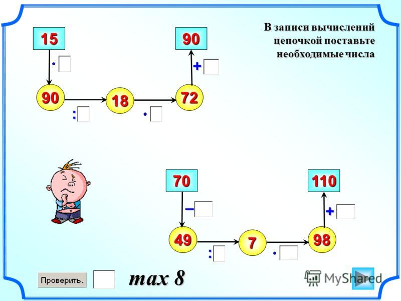 В записи вычислений цепочкой поставьте необходимые числа – 90 : + 15 18 72 90 49 70 7 98 110 : + max 8