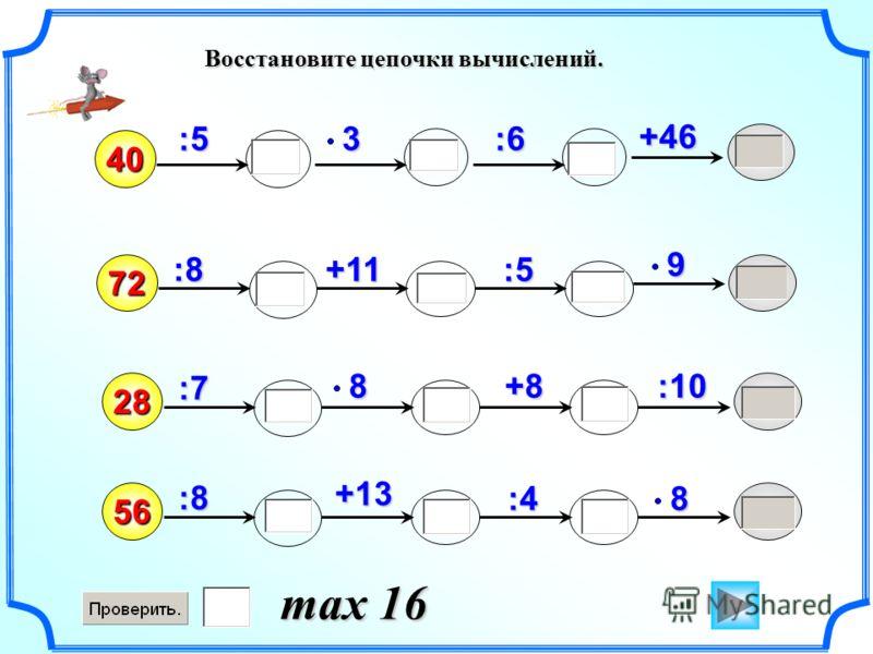 Восстановите цепочки вычислений. 40 :89:5 +113+46 72 :6 :5 :7 +8 28 :108:8 56 :4 +138 max 16