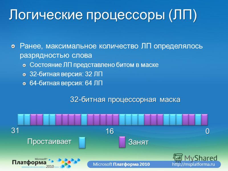 http://msplatforma.ruMicrosoft Платформа 2010 Логические процессоры (ЛП) Ранее, максимальное количество ЛП определялось разрядностью слова Состояние ЛП представлено битом в маске 32-битная версия: 32 ЛП 64-битная версия: 64 ЛП 016 31 32-битная процес