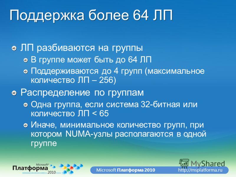 http://msplatforma.ruMicrosoft Платформа 2010 Поддержка более 64 ЛП ЛП разбиваются на группы В группе может быть до 64 ЛП Поддерживаются до 4 групп (максимальное количество ЛП – 256) Распределение по группам Одна группа, если система 32-битная или ко