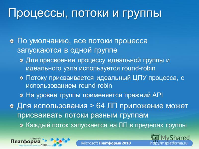 http://msplatforma.ruMicrosoft Платформа 2010 Процессы, потоки и группы По умолчанию, все потоки процесса запускаются в одной группе Для присвоения процессу идеальной группы и идеального узла используется round-robin Потоку присваивается идеальный ЦП