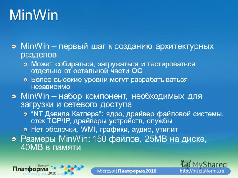 http://msplatforma.ruMicrosoft Платформа 2010MinWin MinWin – первый шаг к созданию архитектурных разделов Может собираться, загружаться и тестироваться отдельно от остальной части ОС Более высокие уровни могут разрабатываться независимо MinWin – набо