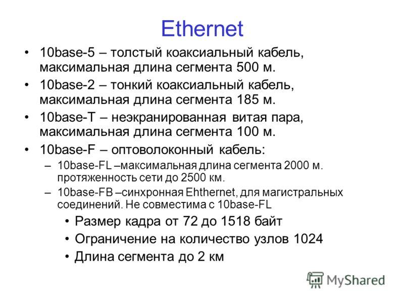 Ethernet 10base-5 – толстый коаксиальный кабель, максимальная длина сегмента 500 м. 10base-2 – тонкий коаксиальный кабель, максимальная длина сегмента 185 м. 10base-Т – неэкранированная витая пара, максимальная длина сегмента 100 м. 10base-F – оптово
