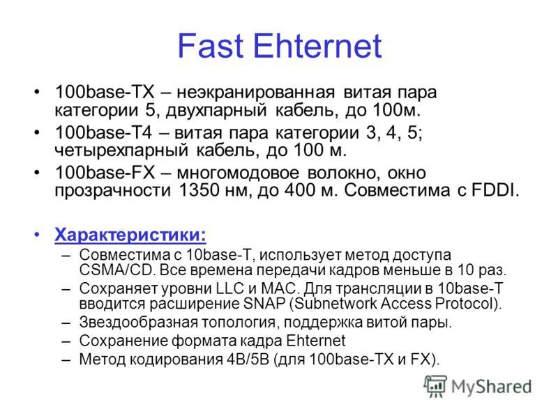 Fast Ehternet 100base-TX – неэкранированная витая пара категории 5, двухпарный кабель, до 100м. 100base-T4 – витая пара категории 3, 4, 5; четырехпарный кабель, до 100 м. 100base-FX – многомодовое волокно, окно прозрачности 1350 нм, до 400 м. Совмест