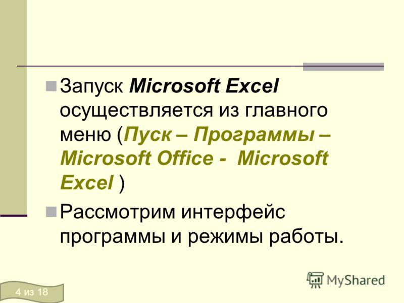Запуск Microsoft Excel осуществляется из главного меню (Пуск – Программы – Microsoft Office - Microsoft Excel ) Рассмотрим интерфейс программы и режимы работы. 4 из 18