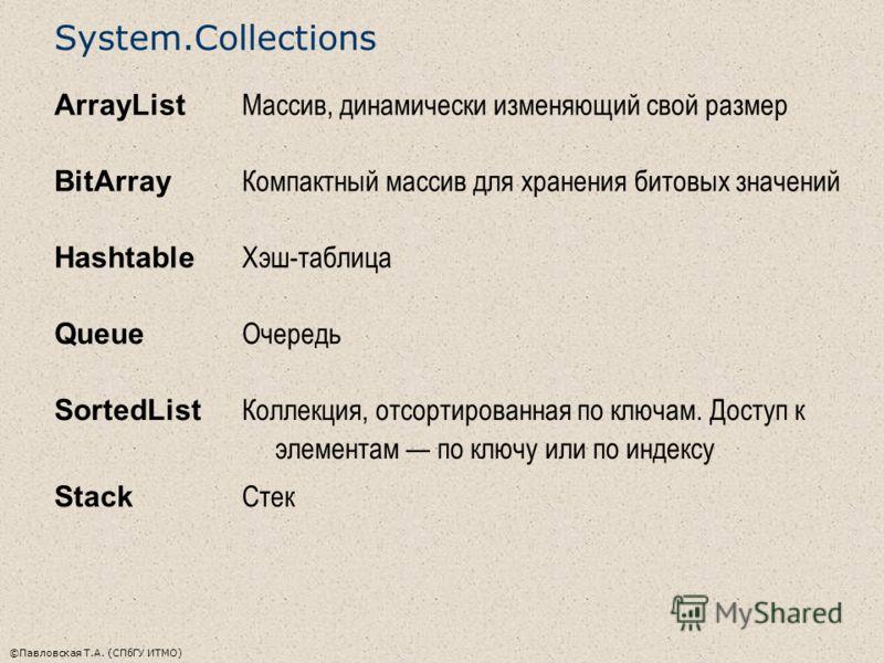 ©Павловская Т.А. (СПбГУ ИТМО) System.Collections ArrayList Массив, динамически изменяющий свой размер BitArray Компактный массив для хранения битовых значений Hashtable Хэш-таблица Queue Очередь SortedList Коллекция, отсортированная по ключам. Доступ
