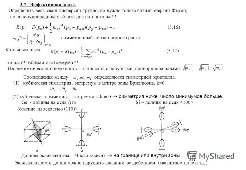 3.7 Эффективная масса Определить весь закон дисперсии трудно, но нужно только вблизи энергии Ферми, т.е. в полупроводниках вблизи дна или потолка (3.16) - симметричный тензор второго ранга К главным осям (3.17) только вблизи экстремума Изоэнергетичес