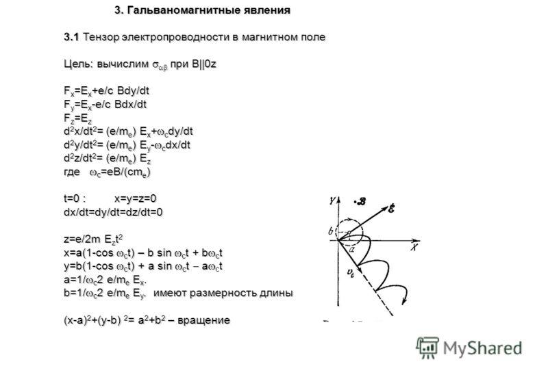 3. Гальваномагнитные явления 3.1 Тензор электропроводности в магнитном поле Цель: вычислим при B||0z F x =E x +e/c Bdy/dt F y =E x -e/c Bdx/dt F z =E z d 2 x/dt 2 = (e/m е ) E x + c dy/dt d 2 y/dt 2 = (e/m е ) E y - c dx/dt d 2 z/dt 2 = (e/m е ) E z