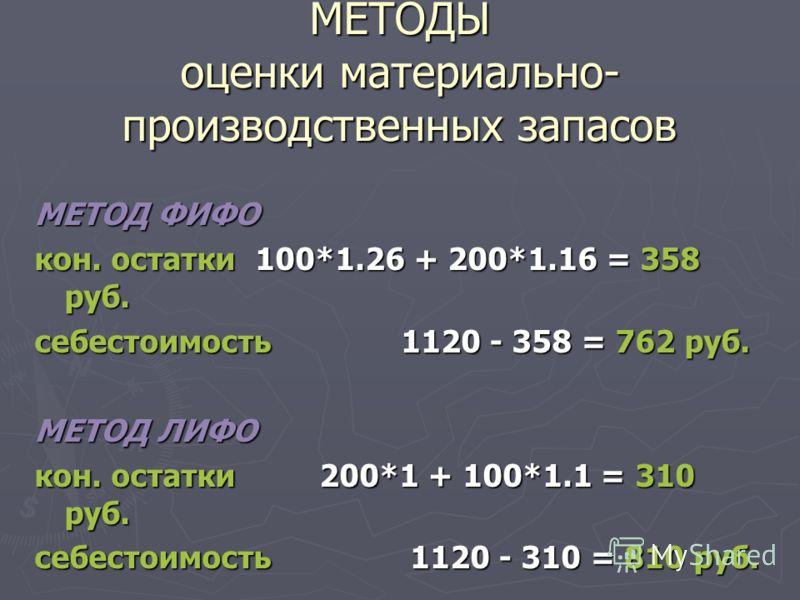 МЕТОДЫ оценки материально- производственных запасов МЕТОД ФИФО кон. остатки 100*1.26 + 200*1.16 = 358 руб. себестоимость 1120 - 358 = 762 руб. МЕТОД ЛИФО кон. остатки 200*1 + 100*1.1 = 310 руб. себестоимость 1120 - 310 = 810 руб.