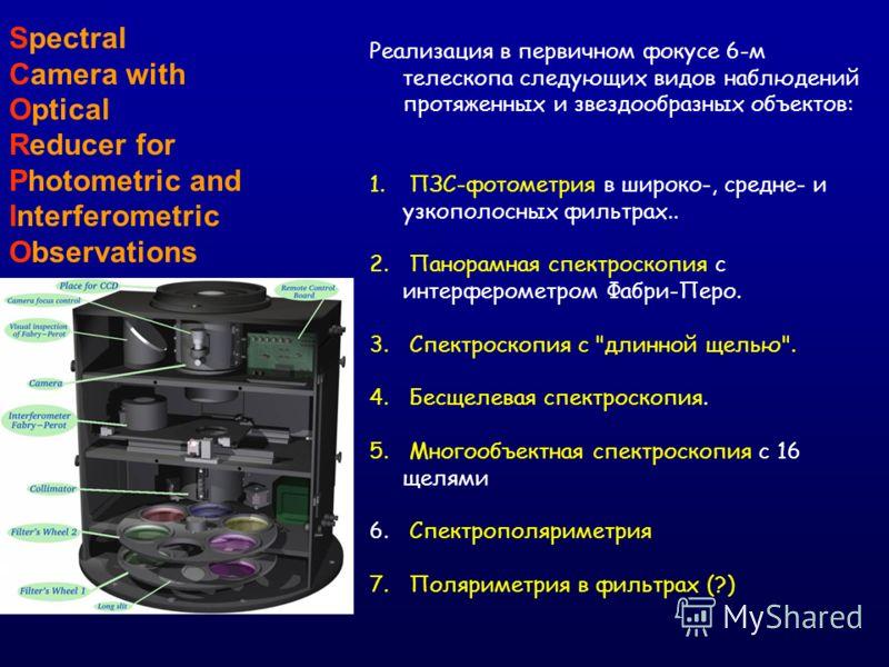 Spectral Camera with Optical Reducer for Photometric and Interferometric Observations Реализация в первичном фокусе 6-м телескопа следующих видов наблюдений протяженных и звездообразных объектов: 1. ПЗС-фотометрия в широко-, средне- и узкополосных фи
