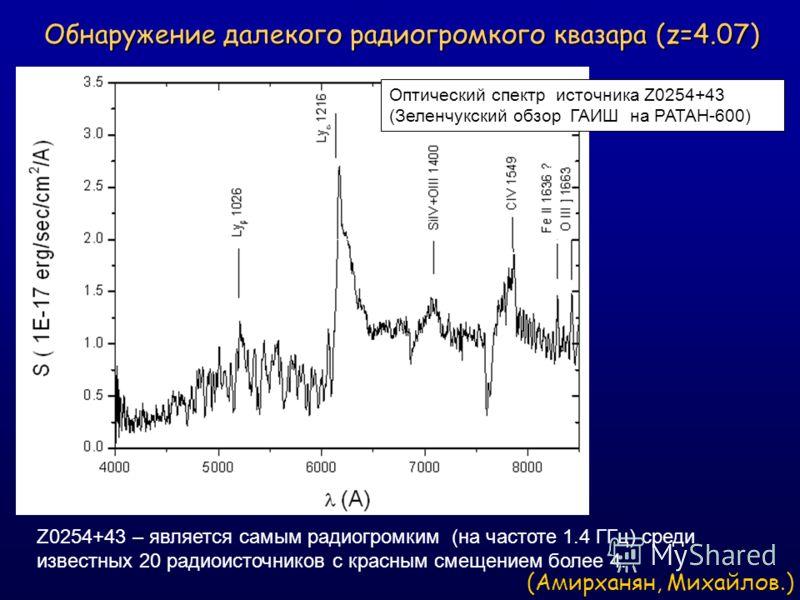 Обнаружение далекого радиогромкого квазара (z=4.07) Обнаружение далекого радиогромкого квазара (z=4.07) Оптический спектр источника Z0254+43 (Зеленчукский обзор ГАИШ на РАТАН-600) Z0254+43 – является самым радиогромким (на частоте 1.4 ГГц) среди изве