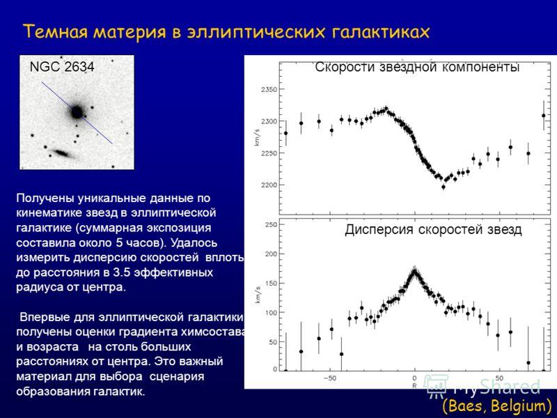 Получены уникальные данные по кинематике звезд в эллиптической галактике (суммарная экспозиция составила около 5 часов). Удалось измерить дисперсию скоростей вплоть до расстояния в 3.5 эффективных радиуса от центра. Впервые для эллиптической галактик