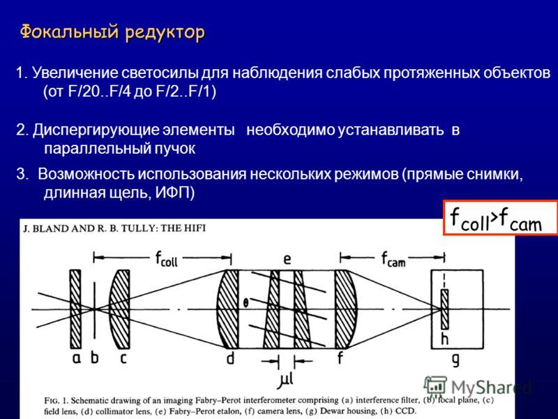 Фокальный редуктор 1. Увеличение светосилы для наблюдения слабых протяженных объектов (от F/20..F/4 до F/2..F/1) 2. Диспергирующие элементы необходимо устанавливать в параллельный пучок 3. Возможность использования нескольких режимов (прямые снимки,
