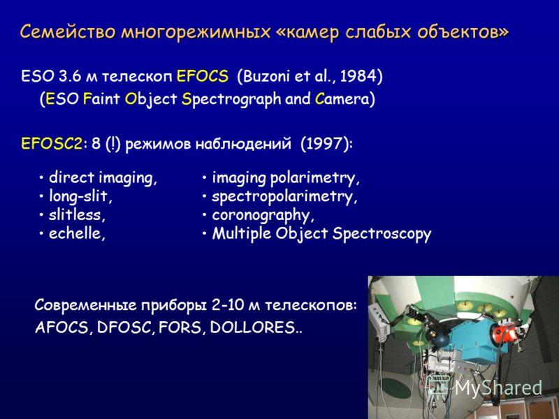 Семейство многорежимных «камер слабых объектов» ESO 3.6 м телескоп EFOCS (Buzoni et al., 1984) (ESO Faint Object Spectrograph and Camera) EFOSC2: 8 (!) режимов наблюдений (1997): Современные приборы 2-10 м телескопов: AFOCS, DFOSC, FORS, DOLLORES.. d