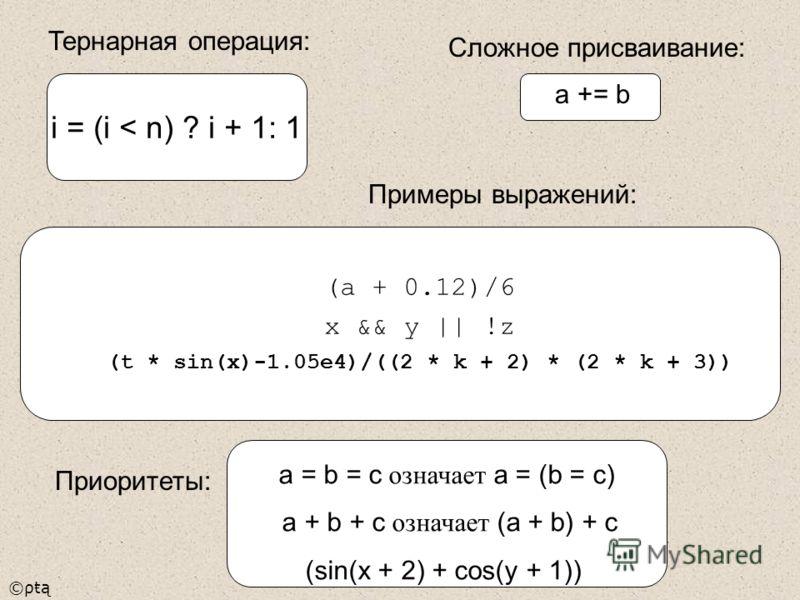 ©ρŧą a = b = c означает a = (b = c) a + b + c означает (a + b) + c (sin(x + 2) + cos(y + 1)) i = (i < n) ? i + 1: 1 (a + 0.12)/6 x && y || !z (t * sin(x)-1.05e4)/((2 * k + 2) * (2 * k + 3)) Тернарная операция: Примеры выражений: a += b Приоритеты: Сл
