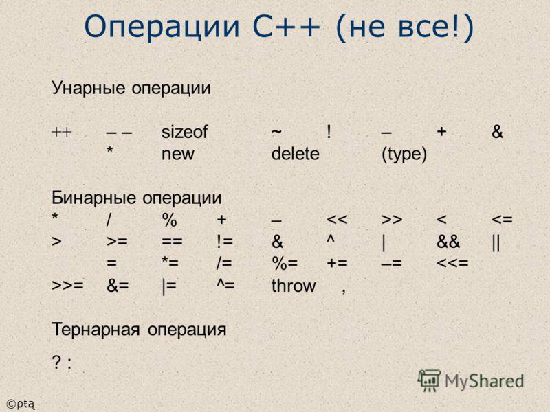 ©ρŧą Унарные операции ++ – –sizeof~!–+& *newdelete(type) Бинарные операции */%+– >===!=&^|&&|| =*=/=%=+=–==&=|=^=throw, Тернарная операция ? : Операции С++ (не все!)