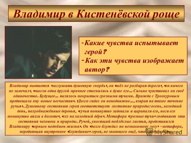 Владимир в Кистенёвской роще - Какие чувства испытывает герой ? - Как эти чувства изображает автор ? Владимир пытается « заглушить душевную скорбь », он « шёл не разбирая дороги », « он ничего не замечал », « мысли одна другой мрачнее стеснились в ду