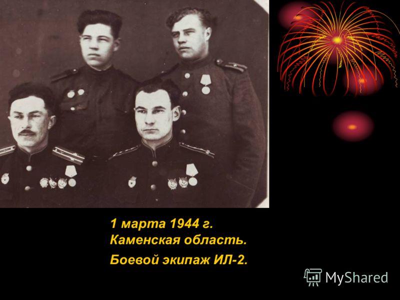 1 марта 1944 г. Каменская область. Боевой экипаж ИЛ-2.