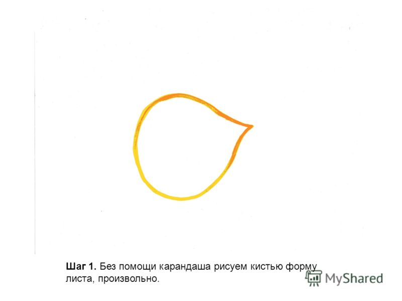 Шаг 1. Без помощи карандаша рисуем кистью форму листа, произвольно.