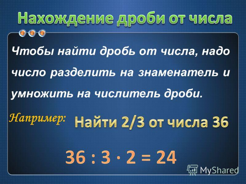 Чтобы найти дробь от числа, надо число разделить на знаменатель и умножить на числитель дроби. Например: