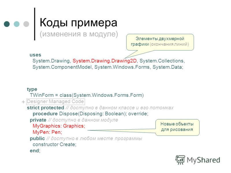 Коды примера (изменения в модуле) type TWinForm = class(System.Windows.Forms.Form) Designer Managed Code strict protected // доступно в данном классе и его потомках procedure Dispose(Disposing: Boolean); override; private // доступно в данном модуле