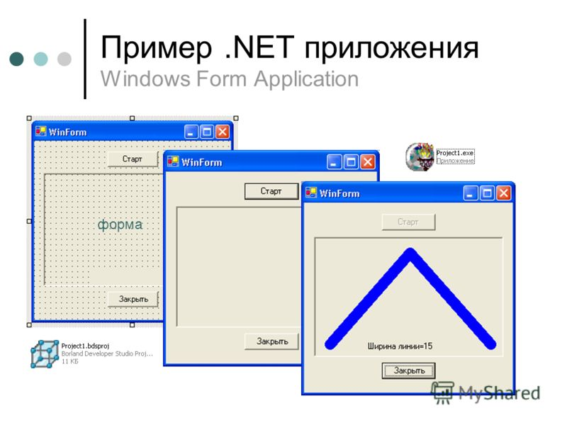 Пример.NET приложения Windows Form Application форма