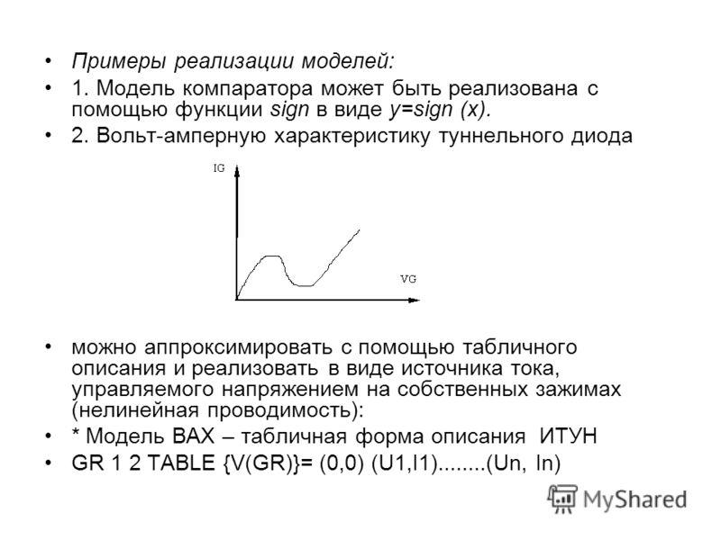 Примеры реализации моделей: 1. Модель компаратора может быть реализована с помощью функции sign в виде y=sign (x). 2. Вольт-амперную характеристику туннельного диода можно аппроксимировать с помощью табличного описания и реализовать в виде источника