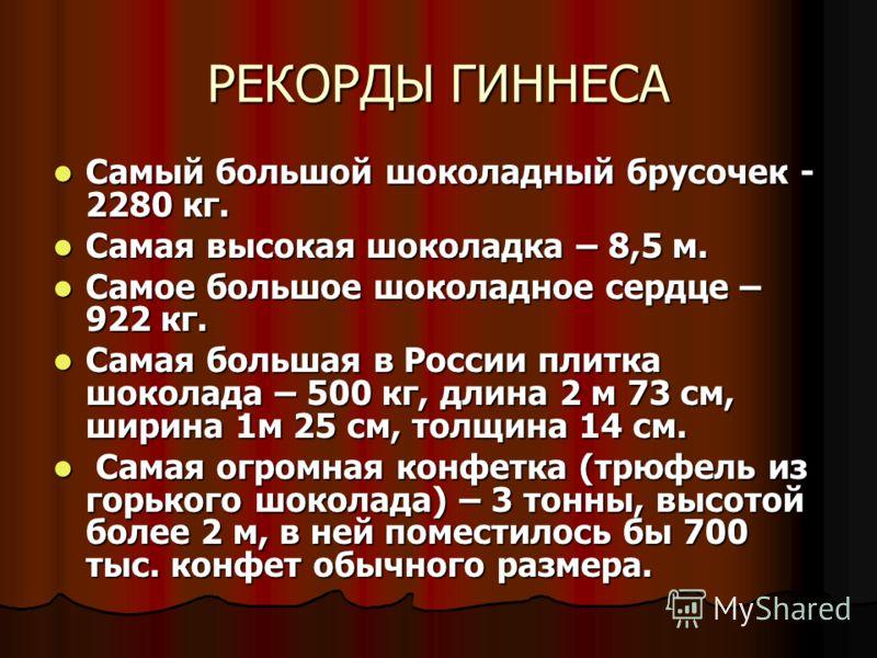 РЕКОРДЫ ГИННЕСА Самый большой шоколадный брусочек - 2280 кг. Самый большой шоколадный брусочек - 2280 кг. Самая высокая шоколадка – 8,5 м. Самая высокая шоколадка – 8,5 м. Самое большое шоколадное сердце – 922 кг. Самое большое шоколадное сердце – 92