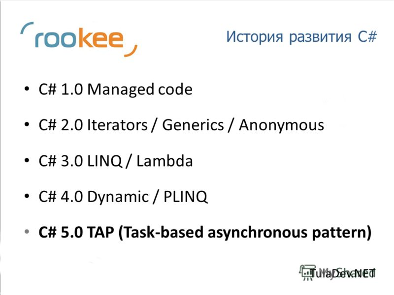 История развития C# C# 1.0 Managed code C# 2.0 Iterators / Generics / Anonymous C# 3.0 LINQ / Lambda C# 4.0 Dynamic / PLINQ C# 5.0 TAP (Task-based asynchronous pattern) TulaDev.NET