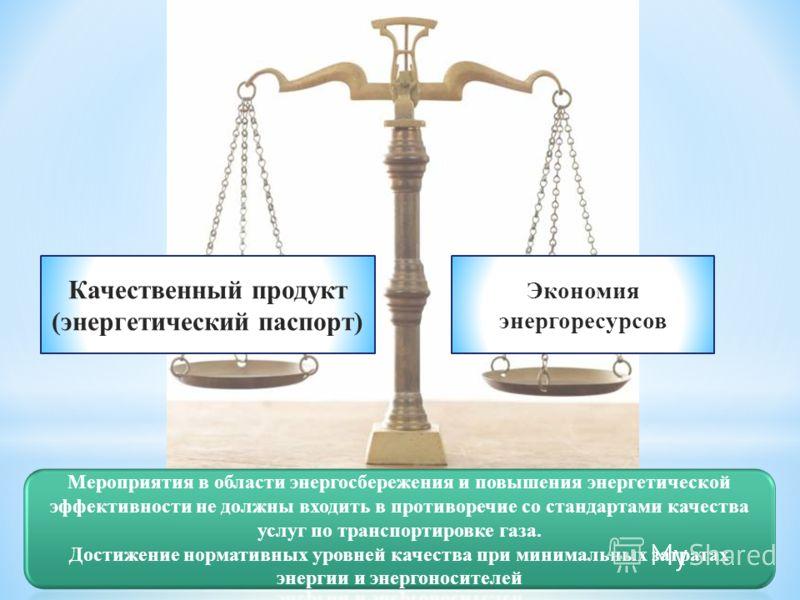Качественный продукт (энергетический паспорт) Экономия энергоресурсов